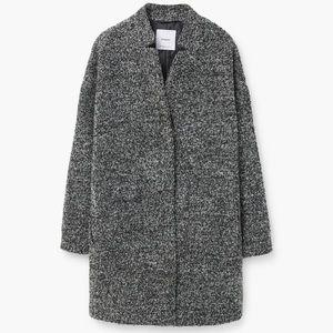 Mango Gray Boucle Cocoon Coat XS
